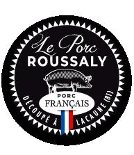 Label Le Porc Roussaly, viande de qualité française travaillée dans l'atelier de découpe de porcs Roussaly à Lacaune, Tarn