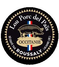 Label Lou Porc Del Païs de l'atelier de découpe de porcs Roussaly à Lacaune, Tarn