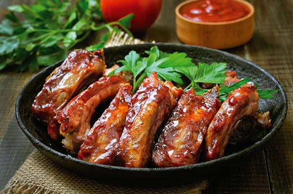 Recette des ribs ou travers de porc caramélisés, viande de porc Roussaly